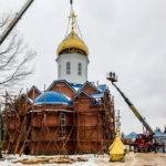 Установка куполов Покровского Храма